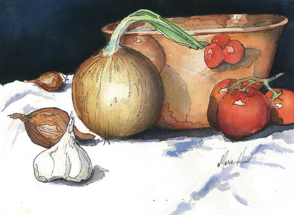 Tomatoes Poster featuring the painting Reflections In Copper by Maria Hunt
