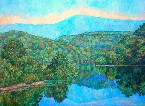 Mountainscape Poster featuring the painting Reflections On The James River by Kendall Kessler