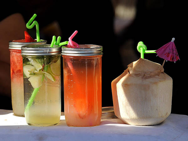 Mason Jars Poster featuring the photograph Refreshing Drinks by Mark Sullivan