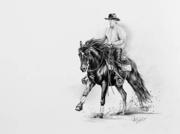 Appaloosa Poster featuring the drawing Reining by Art Imago