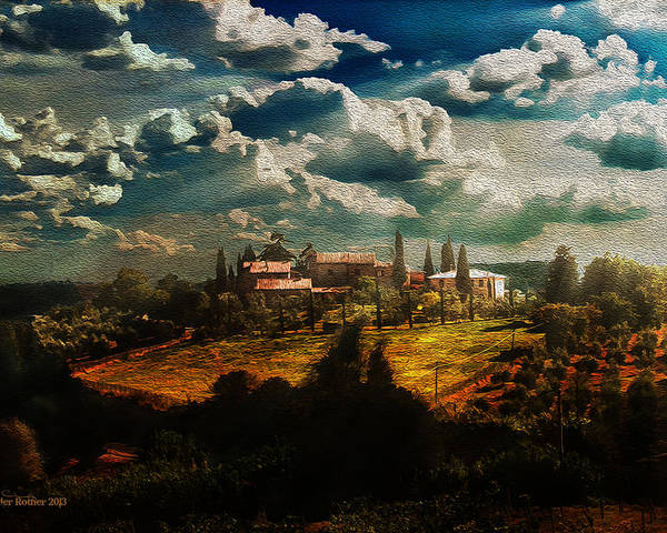 Tuscany Poster featuring the photograph Renaissance Landscape With Power Lines by Aleksander Rotner
