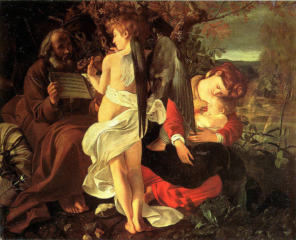 Caravaggio Poster featuring the digital art Rest On The Flight Into Egypt by Caravaggio