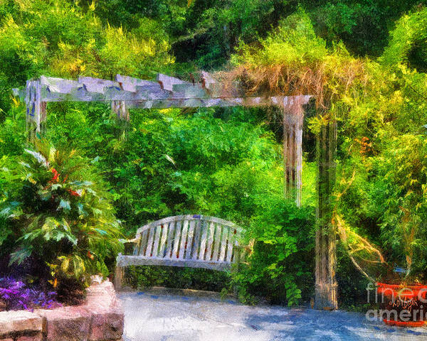 Bench Poster featuring the photograph Restful Retreat by Lois Bryan