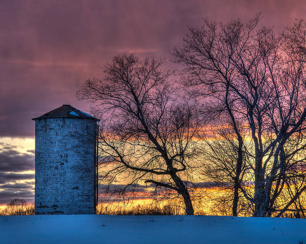 Silo Poster featuring the photograph Retired Silo Watching Sunset by Paul Freidlund