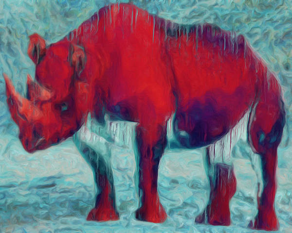 Rhino Poster featuring the painting Rhino by Jack Zulli