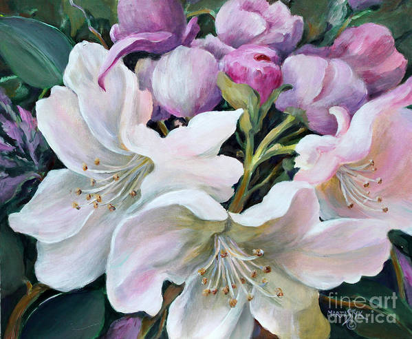 Flowers Poster featuring the painting Rhododendron by Marta Styk