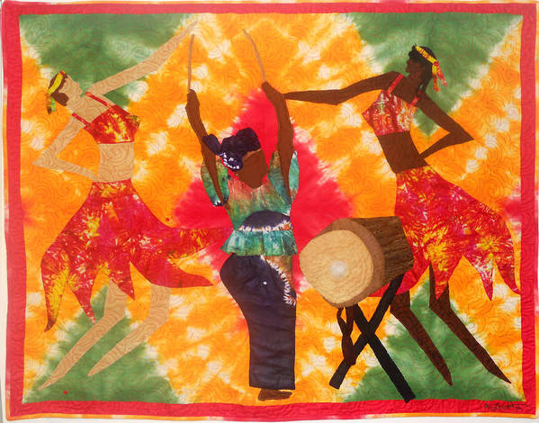 Fiber Art. Art Quilt. African American Art Poster featuring the tapestry - textile Rhythms by Aisha Lumumba