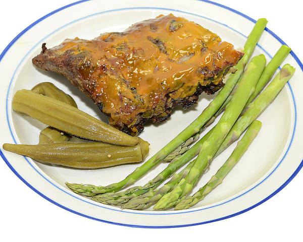 Sparerib Poster featuring the photograph Ribs Plate With Vegetables by Susan Leggett