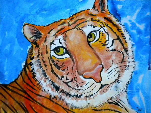 Richard Parker Poster featuring the painting Richard Parker by Debi Starr