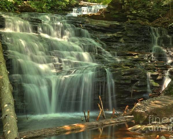 Shawnee Falls Poster featuring the photograph Ricketts Glen Shawnee Waterfall by Adam Jewell