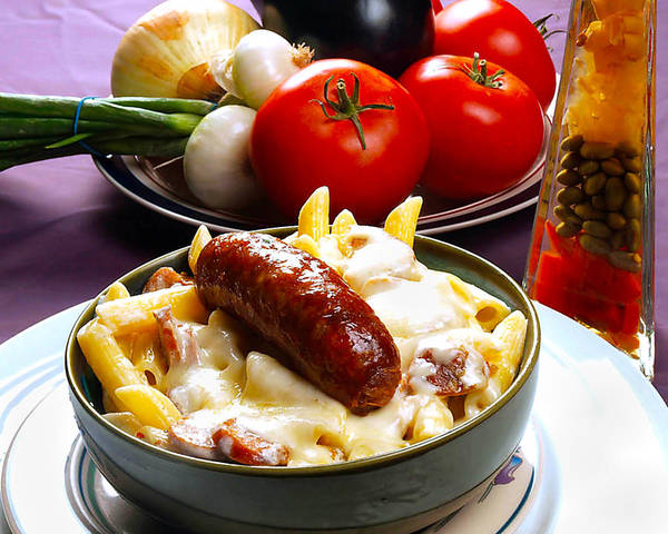 Rigatoni And Sausage Poster featuring the photograph Rigatoni And Sausage by Camille Lopez