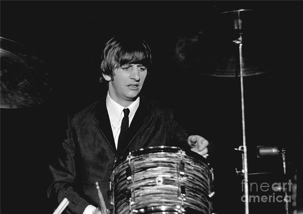Beatles Poster featuring the photograph Ringo Starr, Beatles Concert, 1964 by Larry Mulvehill