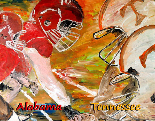 Tennessee Vols Poster featuring the painting Rivals Face To Face 1 by Mark Moore