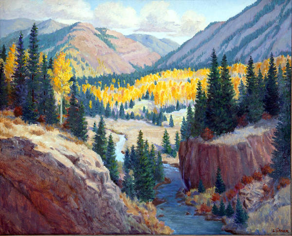 New Mexico Poster featuring the painting River Valley by Douglas Turner