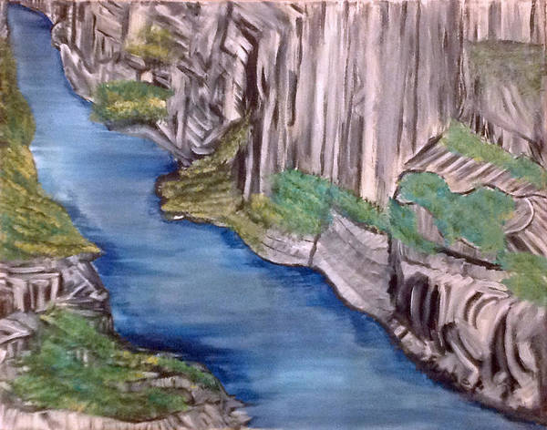 Cliffs Poster featuring the painting River With No End by Suzanne Surber