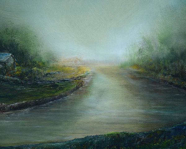 Landscape River House Morning Haze Poster featuring the painting Riverhouse Morning Haze by Paul Rowe