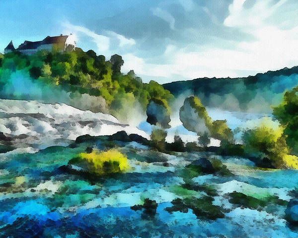 River Poster featuring the painting Riverscape by Ayse Deniz