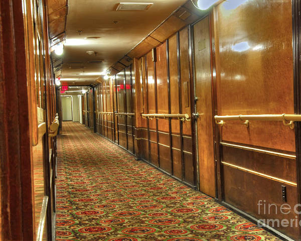Long Beach Ca Home To The Queen Mary Poster featuring the photograph Rms Queen Mary Passenger Hallway Passageway by David Zanzinger