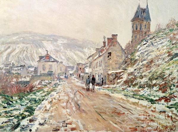 Art Poster featuring the painting Road In Vetheuil In Winter by Claude Monet