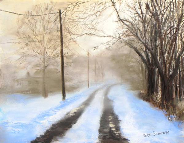 Snow Poster featuring the pastel Road To The Ice House by Jack Skinner