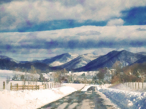 Ice Poster featuring the photograph Road To The Mountains by Kathy Jennings