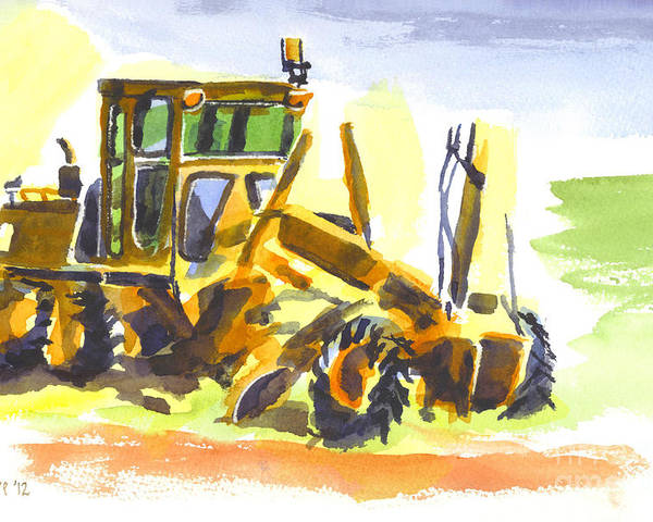 Roadmaster Tractor In Watercolor Poster featuring the painting Roadmaster Tractor In Watercolor by Kip DeVore