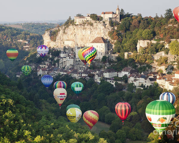 Balloons Poster featuring the photograph Rocamadour Midi-pyrenees France Hot Air Balloons by Colin and Linda McKie