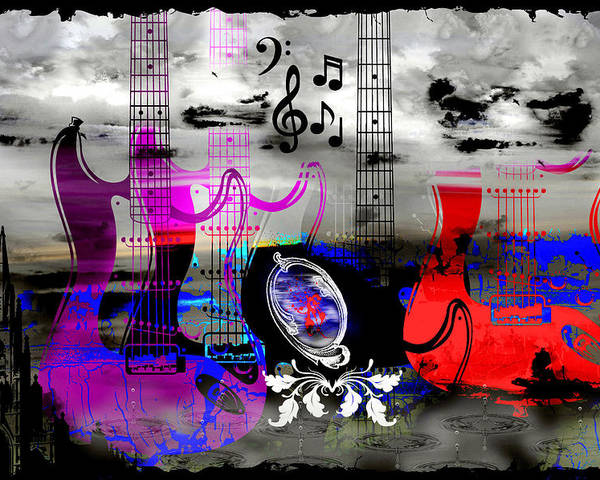 Rock Poster featuring the digital art Rock And Roll Fantasy by Michael Damiani