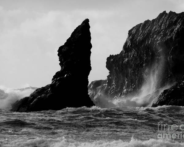 Ocean Poster featuring the photograph Rock And Wave by Deena Otterstetter