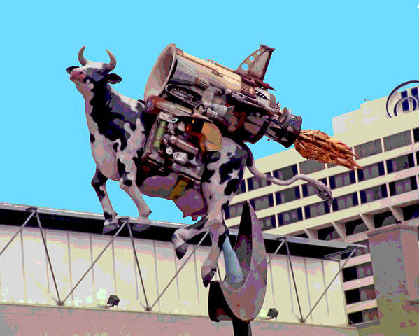 Cow Poster featuring the photograph Rocket Cow Sculpture By Michael Bingham by Steve Ohlsen