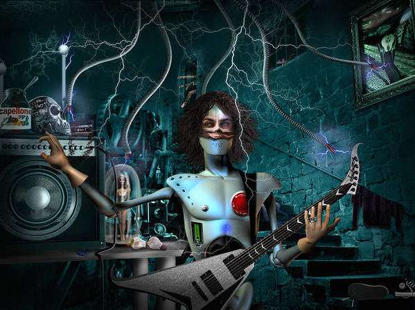 Rock N Roll Robot Poster featuring the digital art Rock'n'roll Robot by Alessandro Della Pietra