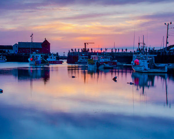 Motif #1 Poster featuring the photograph Rockport Harbor Sunrise Over Motif #1 by Jeff Folger