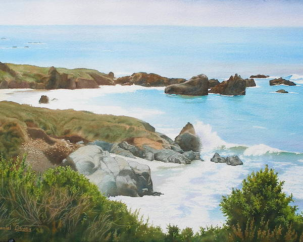 Watercolor Poster featuring the painting Rocks And Waves - California Coast by Daniel Dayley