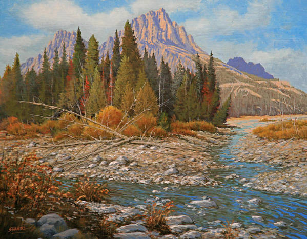 Creek Poster featuring the painting Rocky Creek 111105-1418 by Kenneth Shanika