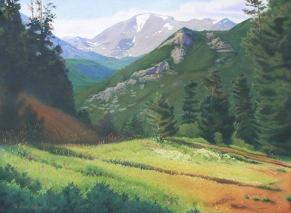 Watercolor Poster featuring the painting Rocky Mountain Grandeur by Daniel Dayley