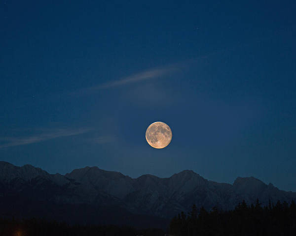 Sky Poster featuring the photograph Rocky Mountain Moonrise by Jack Nevitt
