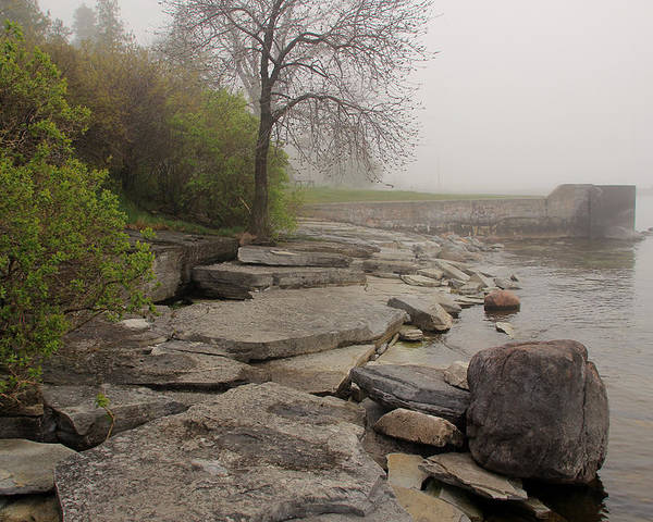 Lake Shore Poster featuring the photograph Rocky Shore 4 by Jim Vance