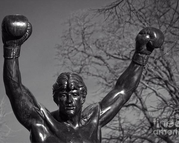 Bronze Poster featuring the photograph Rocky Statue by Tom Gari Gallery-Three-Photography