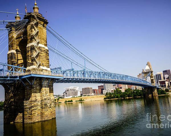 2012 Poster featuring the photograph Roebling Bridge In Cincinnati Ohio by Paul Velgos
