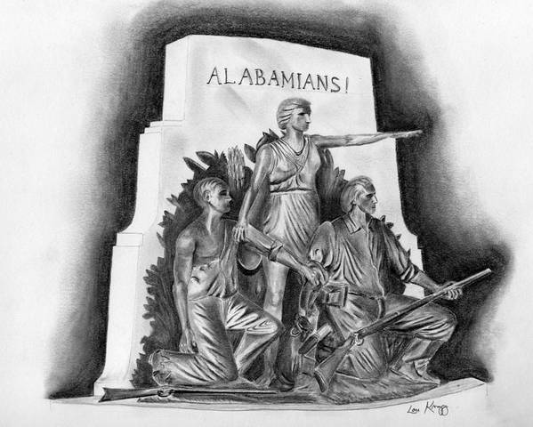 Alabama Poster featuring the drawing Roll Tide Alabama Monument At Gettysburg by Lou Knapp