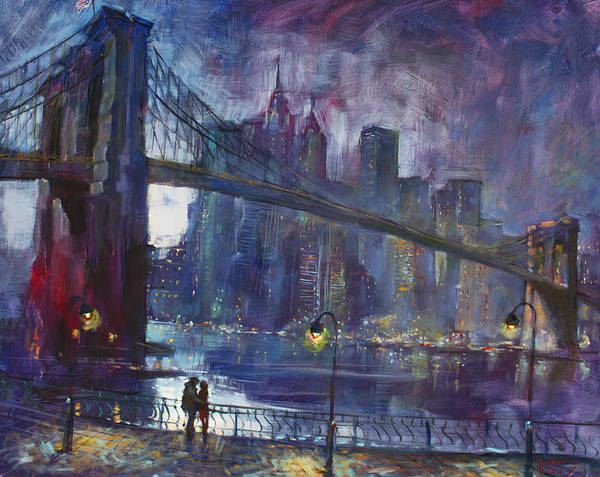 Brooklyn Bridge Poster featuring the painting Romance by East River NYC by Ylli Haruni