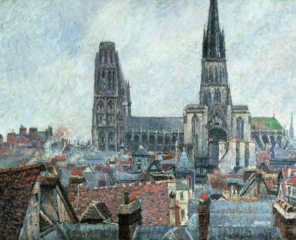 Art Poster featuring the painting Roofs Of Old Rouen Grey Weather by Camille Pissarro