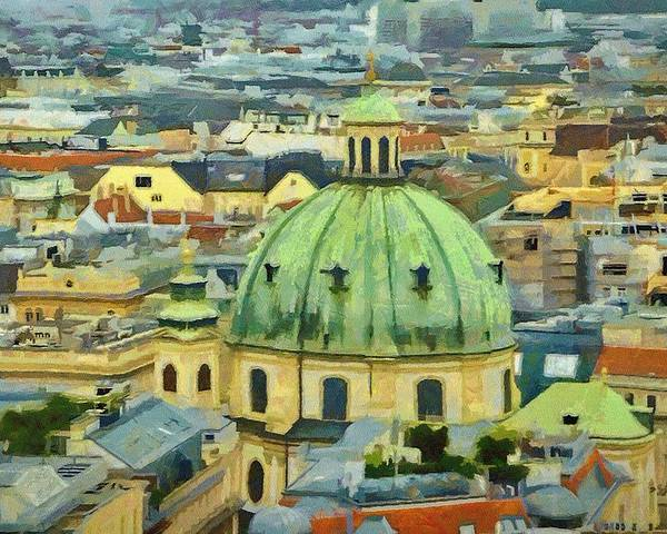 Vienna Poster featuring the painting Rooftops Of Vienna by Jeffrey Kolker