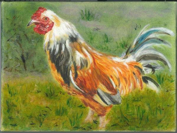 Rooster Poster featuring the painting Rooster Rules by Paula Emery