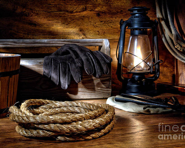 Western Poster featuring the photograph Rope In The Ranch Barn by Olivier Le Queinec