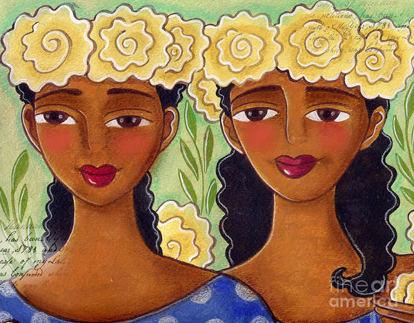 Yellow Roses Poster featuring the painting Rose Crown Sisiters by Elaine Jackson