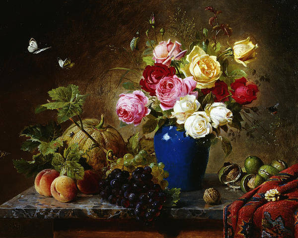 Still-life Poster featuring the painting Roses In A Vase Peaches Nuts And A Melon On A Marbled Ledge by Olaf August Hermansen