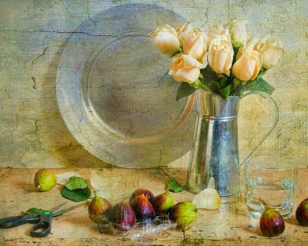 Still Life Poster featuring the photograph Roses With Figs by Diana Angstadt
