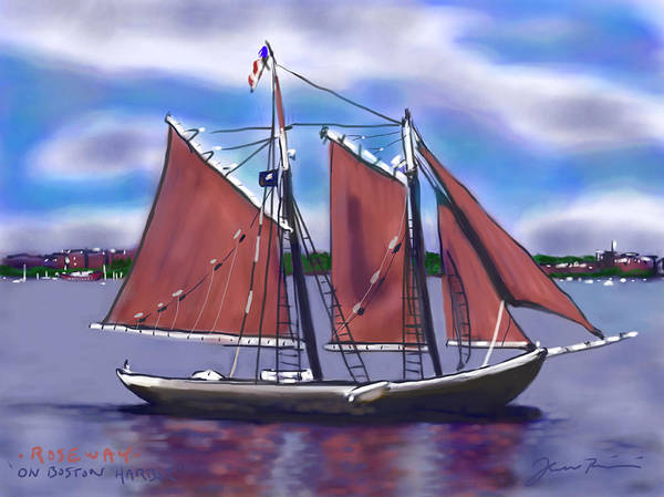 Ship Poster featuring the painting Roseway On Boston Harbor by Jean Pacheco Ravinski