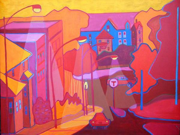 Cityscape Poster featuring the painting Roslindale Never Looked so Red by Debra Bretton Robinson
